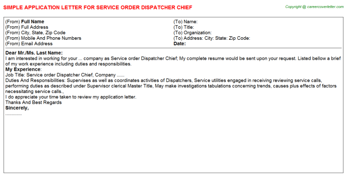 Service order Dispatcher Chief Application Letter Template