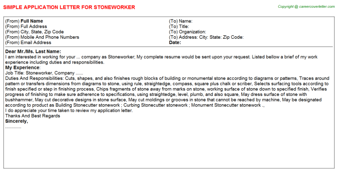 Stoneworker Application Letter Template