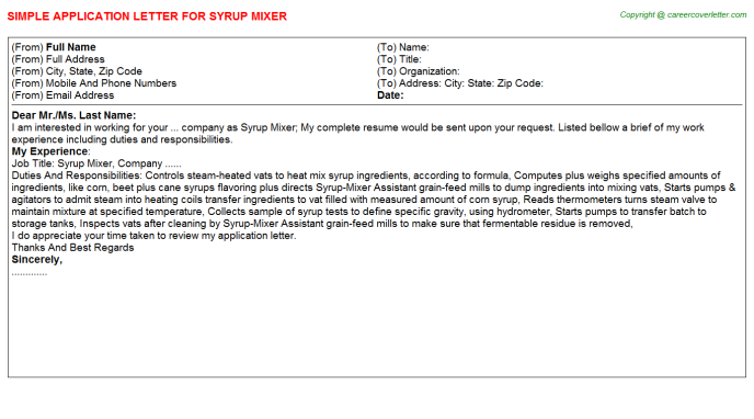 syrup mixer application letter template