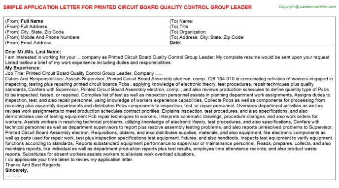 Supplier Quality Auditor Job Application Letters Examples