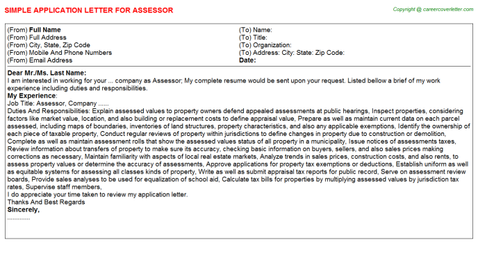 Assessor Application Letter Template