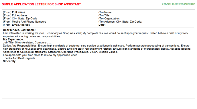 Shop Assistant Application Letter Template