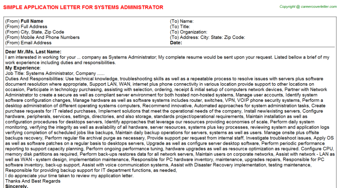 Systems Administrator Application Letter Template