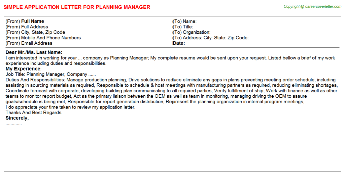Planning Manager Application Letter Template