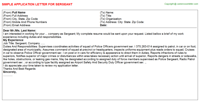 Sergeant Application Letter Template