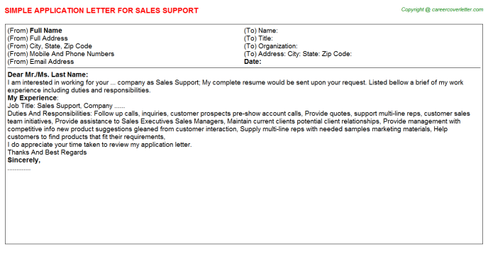 Sales Support Application Letter Template