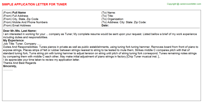 Tuner Job Application Letter Template