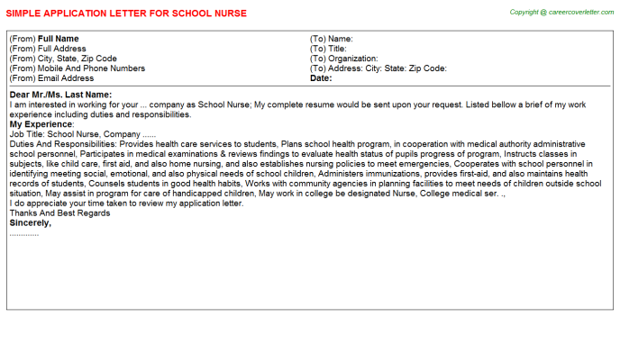 School Nurse Application Letter Template