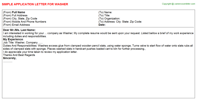 Washer Job Application Letter Template