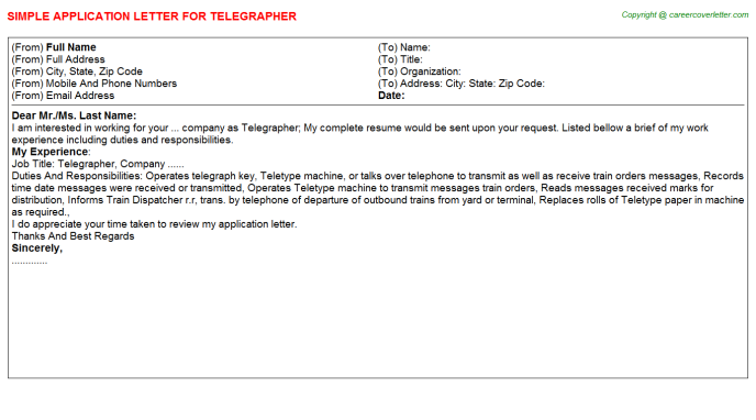 Telegrapher Application Letter Template