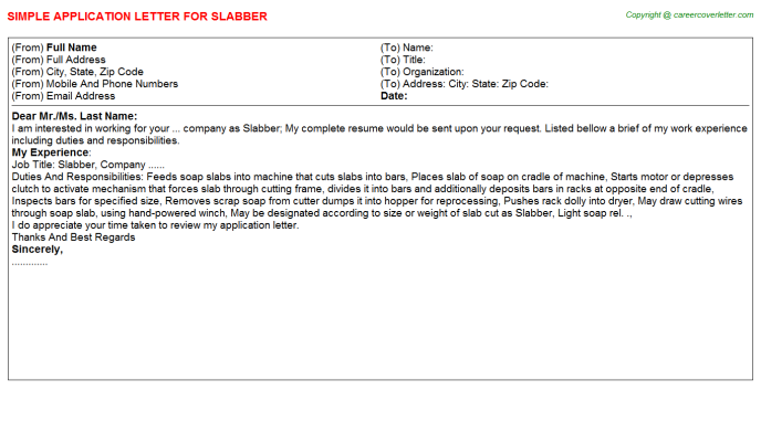 Slabber Job Application Letter Template