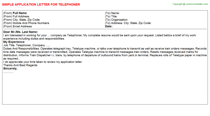Telephoner Job Application Letter Template