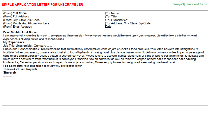 Unscrambler Job Application Letter Template