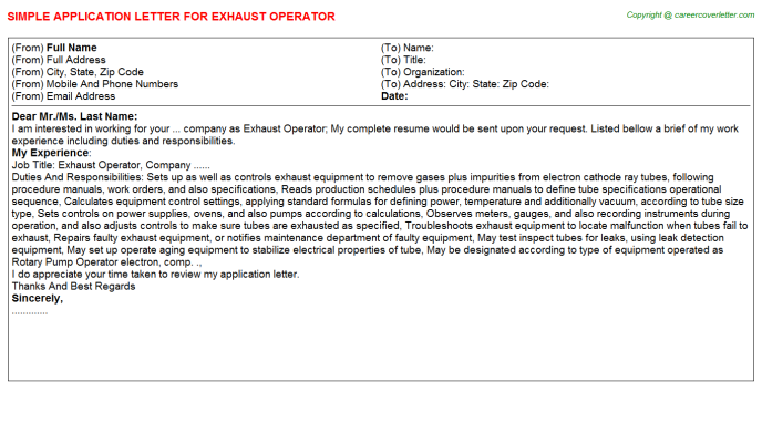 exhaust operator application letter
