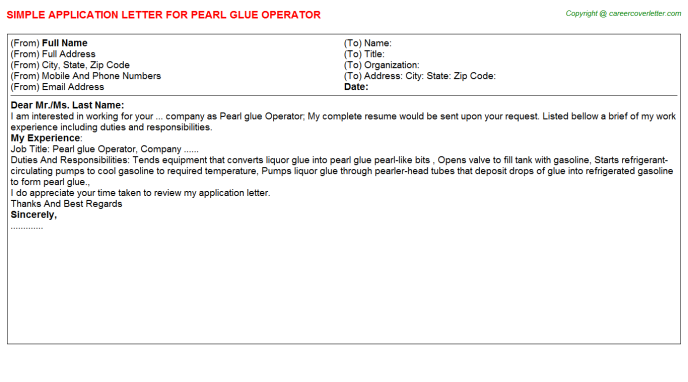 Pearl glue Operator Application Letter Template