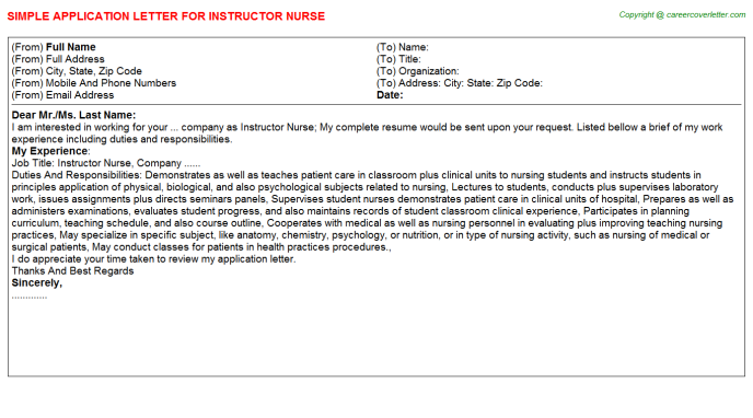 Aesthetic Nurse Injector Application Letters