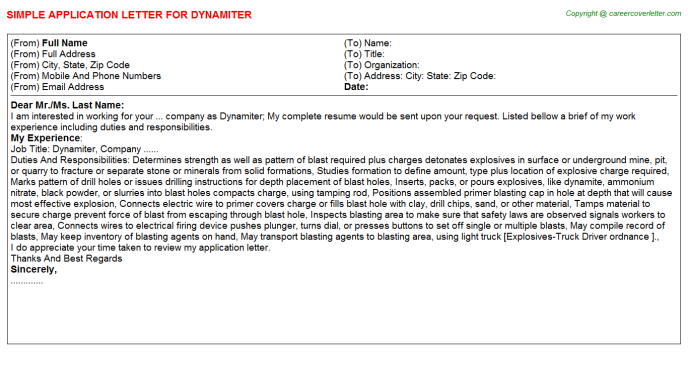 Dynamiter Job Application Letter Template