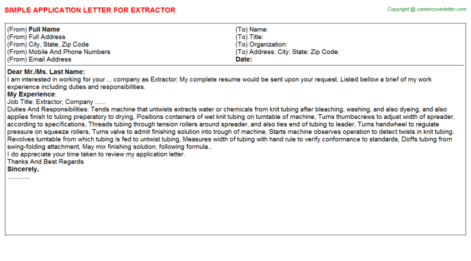 Extractor Job Application Letter Template