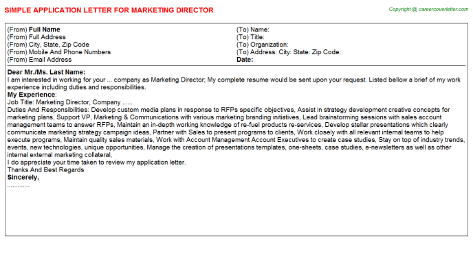 Marketing Director Application Letter Template