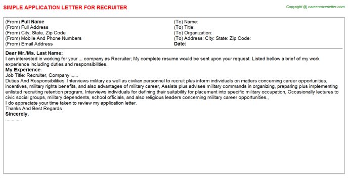 Recruiter Application Letter Template
