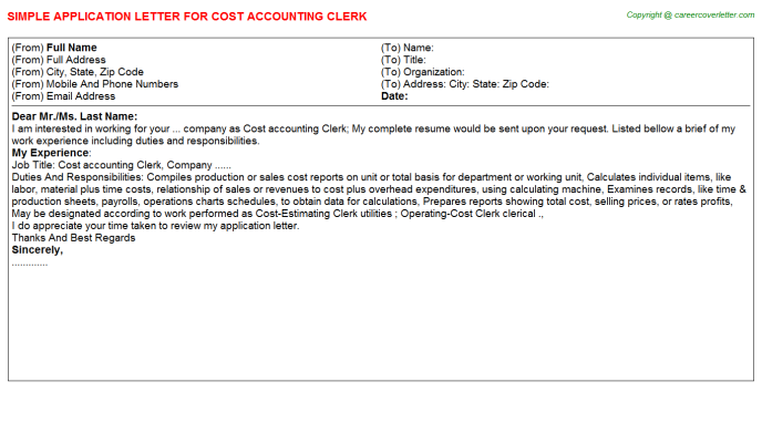 cost accounting clerk application letter template