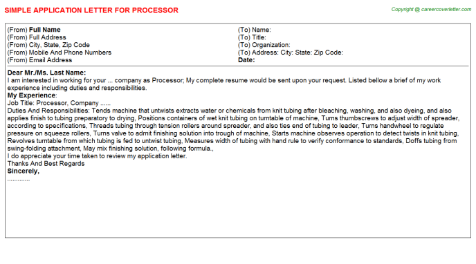 Processor Application Letter Template