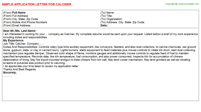 Calciner Application Letter Template