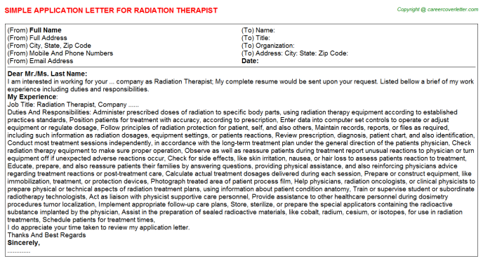 Radiation Therapist Application Letter Template
