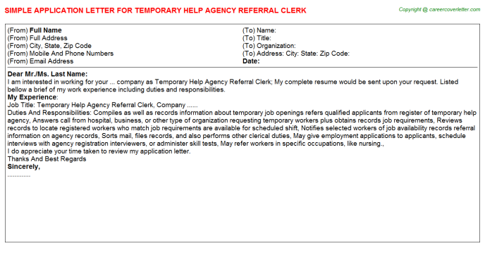 Temporary Help Agency Referral Clerk Application Letters