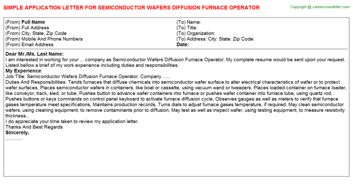 Semiconductor Wafers Diffusion Furnace Operator Application Letter Template