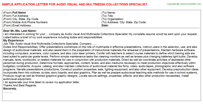 Audio Visual And Multimedia Collections Specialist Application Letter Template