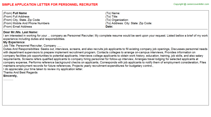 Personnel Recruiter Application Letter Template