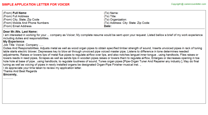 Voicer Job Application Letter Template