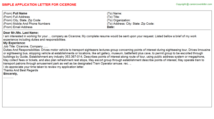 Cicerone Job Application Letter Template