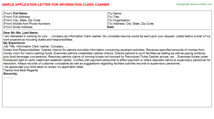 information clerk cashier application letter template