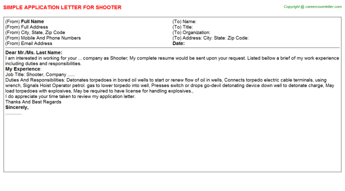 Shooter Application Letter Template