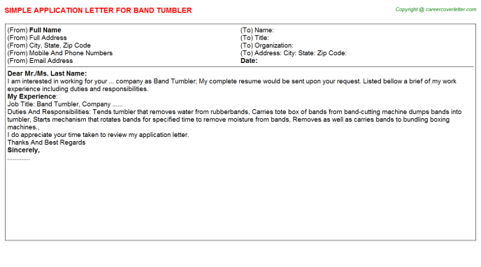 band tumbler application letter template
