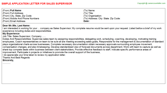 Sales Supervisor Application Letter Template