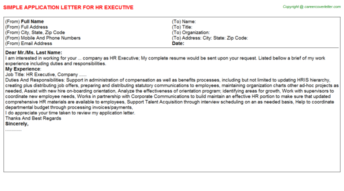 HR Executive Application Letter Template