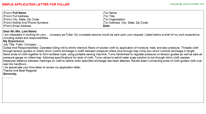 Fuller Application Letter Template