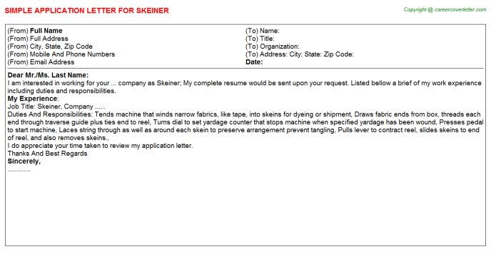 Skeiner Job Application Letter Template