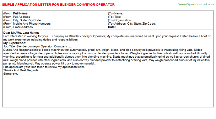 blender conveyor operator application letter template