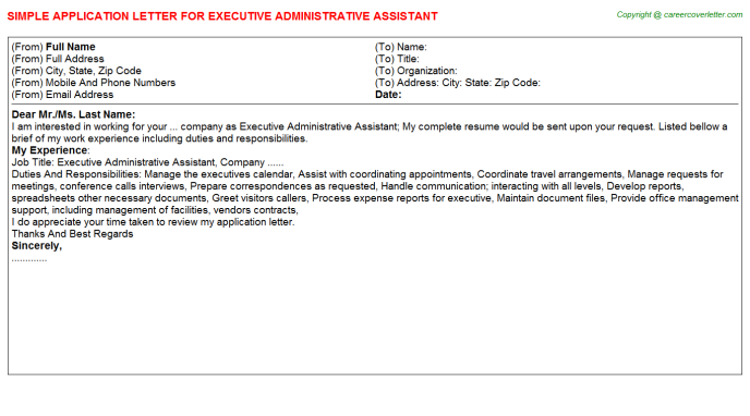 Executive Administrative Assistant Application Letter Template