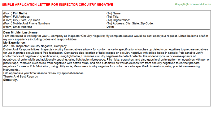 Inspector Circuitry Negative Application Letter Template