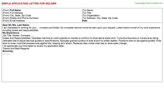 molder application letter template