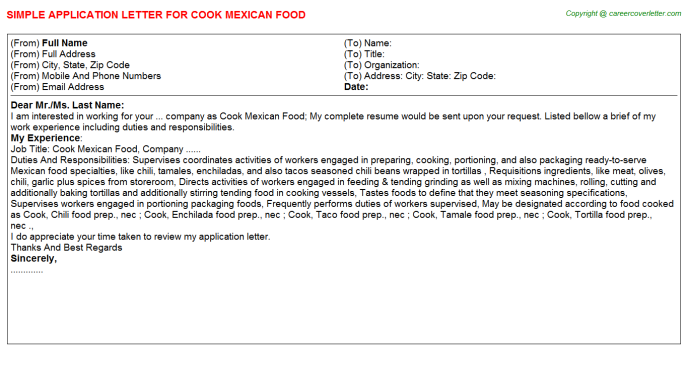 cook mexican food application letter template