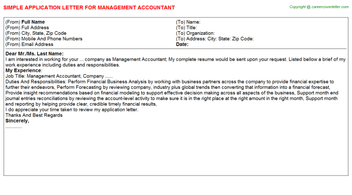 Management Accountant Job Application Letter Template