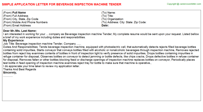 beverage inspection machine tender application letter template