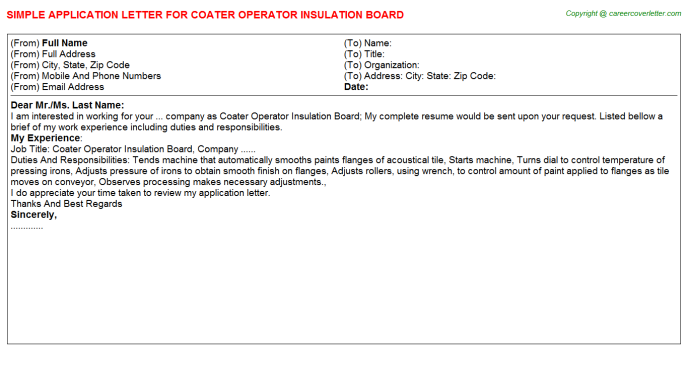 coater operator insulation board application letter template