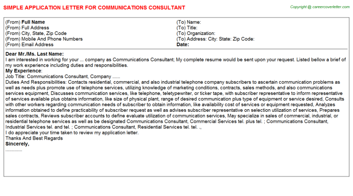 communications consultant application letter template